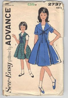 1960s Vintage Pattern Sailor Dress, Advance 2737 Nautical Dress
