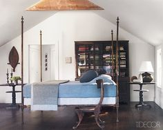 James Huniford {blue and white eclectic rustic bedroom}