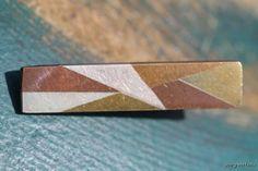 Vintage 1950s Mexican Taxco 925 Sterling Silver Brass Copper Metales Casados Tie Bar Clip.