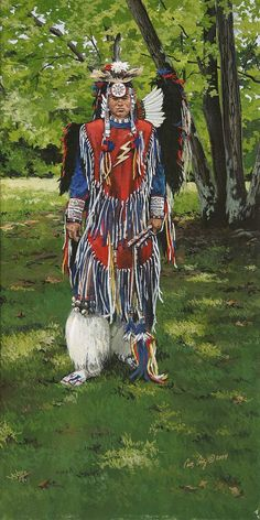 Native American Cherokee dancer in full regalia. 'Cherokee Dancer' by Brushedmemories, $25.00 @Etsy.com