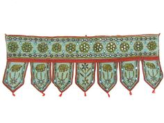 Amazon.com: 1 Piece Wall Hanging Topper Embroidered Mirror Work By Window Valance 35 X 12.5 inches: Home & Kitchen
