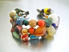 African Trade Bracelet Gemstone Art Glass by RenaissanceFair