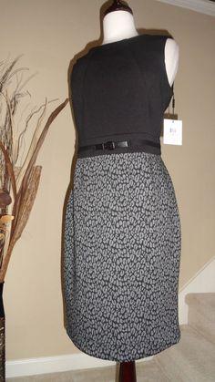 CALVIN KLEIN GRAY & BLACK SASSY COCKTAIL CAREER KNIT  DRESS SZ - 10 #CalvinKlein #SweaterDress #Cocktail