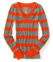 Long Sleeve Ribbed Stripe V-Neck Tee - Aéropostale®