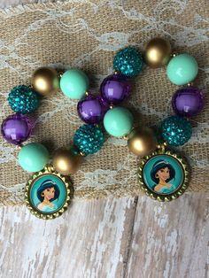 Set of 6 Aladdin and Jasmine themed party bracelets.. Magic lamp bracelets.. Jasmine party favor.. Princess party favors.. Jasmine party..