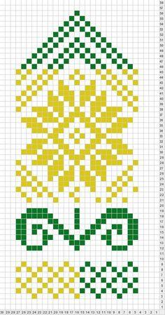Flower - inspiration for tapestry crochet Knitted Mittens Pattern, Fair Isle Knitting Patterns, Knitting Charts, Knit Mittens, Loom Patterns, Knitted Gloves, Knitting Stitches, Motif Fair Isle, Mochila Crochet