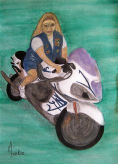 Biker Chick Interpretation Charcoal, pencil and watercolor on paper. A2 Size, Biker Chick, Charcoal, Pencil, Portraits, Watercolor, Paper, Frame, Artist