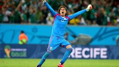 RECIFE, BRAZIL - JUNE 23: Guillermo Ochoa of Mexico celebrates after winning the 2014 FIFA World Cup Brazil Group A match between Croatia and Mexico at Arena Pernambuco on June 23, 2014 in Recife, Brazil. (Photo by Alex Livesey - FIFA/FIFA via Getty Images)  2014 FIFA World Cup Brazil™: Croatia-Mexico - Photos - FIFA.com