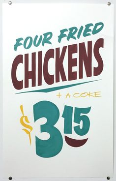 """Brett Piva, """"Four Fried Chickens + a Coke"""" — hand painted on cardstock —14""""w x 22""""h"""