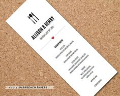 Ultra Modern Wedding Menu Card - DIY Editable Word Template, Instant Download, Printable