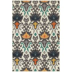 Floral Tribal Ikat Ivory/ Multi-colored Rug (7'10 x 10'10)