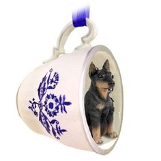 Doberman Pinscher Black Dog Decorative Blue Tea Cup