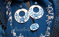 Conjunto aros con flores blanco y azul
