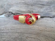 Gold Anchor Bracelet Red Leather Bracelet Women Jewelry