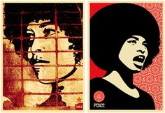 Shepard Fairey version of the iconic Angela poster, a sillouhette of Angela with a simple red background