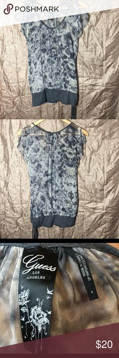 Gray Guess Los Angeles Top Small Cute, gray, see through top by Guess Los Angeles small but fits big Guess Tops Blouses