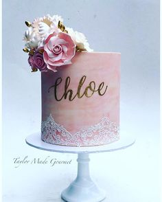 A beautiful pink & peach watercolour with hand painted name & sugar flowers for Chloe's Confirmation. Thanks again Lorena 😘. 30th Birthday Cake For Women, Birthday Cake For Women Elegant, Birthday Cake Roses, Elegant Birthday Cakes, First Birthday Cakes, 30th Cake, Elegant Cakes, Bolo Floral, Floral Cake