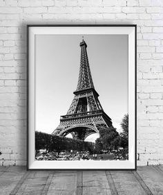 Black and white Eiffel Tower Art Paris Print by AskPrintables
