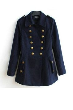 Western Style Wool Coat With Double Breasted