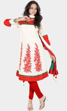Buy Long length and stylish Anarkali dresses and Salwar Suit online - Banarsi Churidar Suit