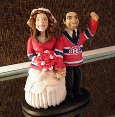 For the love of HOCKEY Canadiens Jersey on bride and groom AWesome cake topping :) Hockey Wedding, Our Wedding, Wedding Stuff, Wedding Ideas, Montreal Canadiens, Wedding Cake Toppers, Wedding Cakes, I Got Married, Amazing Cakes