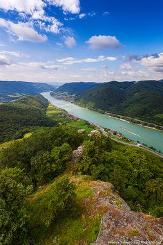 Danube river from the Aggstein Castle in Austria
