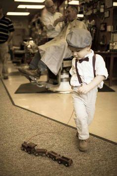 Baby boy in barbershop, toddler, lisa karr photography, beloit wisconsin