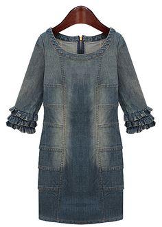 Blue Ruffle Half Sleeve Bleached Denim Dress - Sheinside.com