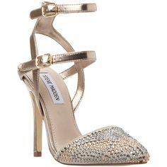 Steve Madden Porttt Studded Multi Strap Court Shoes, Pewter (671.275 IDR) ❤ liked on Polyvore