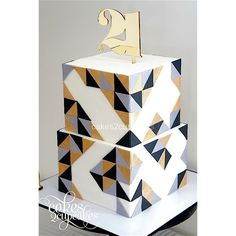 Gold 21 cake topper by Communicake It Square Birthday Cake, Square Wedding Cakes, Birthday Cakes For Men, Square Cakes, Birthday Cake Toppers, Wedding Cake Toppers, 30th Birthday, Birthday Ideas, Personalized Cake Toppers