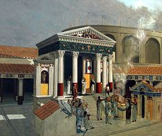 isistemple_picture. A reconstruction drawing of the Temple of Isis in Pompeii, showing rituals in progress. Roman, 120-150 CE. London, British Museum.