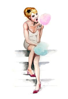 Eating Cotton Candy by Tracy Hetzel Long Blue Straw Illustration Story, Watercolor Illustration, Watercolour, Illustrations And Posters, Fashion Illustrations, Fashion Drawings, Drawing Sketches, Sketch Art, Cool Artwork
