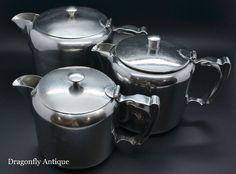 SUPERB Vintage Olde Hall Stainless Steel Graduated Teapots 2 Pint 1.5 & 1 Pint #oldeHall