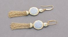 Gold Tassel and Crystal Earrings by OnlyOneJewelryDesign on Etsy