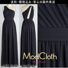 ★モドクロス modcloth 結婚式 ワンショルダー マキシワンピース