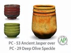 AMACO Potter's Choice layered glazes Deep Olive Speckle and Ancient Jasper. Glazes For Pottery, Ceramic Pottery, Pottery Art, Pottery Ideas, Ceramic Techniques, Pottery Techniques, Glazing Techniques, Beginner Pottery, Pottery Lessons