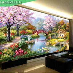 Needlework,DIY DMC scenery landscape cross stitch, Famous painting Garden cabin,Sets For Embroidery kits ,Wall Home Decro Scenery Paintings, Nature Paintings, Angel Paintings, Art Nature, Cool Landscapes, Beautiful Landscapes, Landscape Art, Landscape Paintings, House Landscape