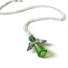 guardian angel necklace emerald crystal beads May by jcudesigns, £9.50