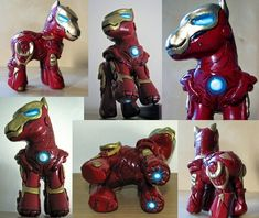"""Iron Man + My Little Pony = Iron Pony. Customized by trillions on deviantart. comicbooks: """"Pony Stark, in the guise of his alter ego, Iron Pony by Clara """" Geek Out, Nerd Geek, Mlp, Avengers, Little Girl Toys, Popular Kids Toys, My Lil Pony, Little Poney, My Little Pony Friendship"""