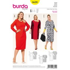 Our pretty dress with panel seams is a perfect fit for the fuller figure. Its colorful accents will unquestionably make a great impression, so feel free to show off! A Burda Style sewing pattern.