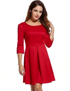 New Women Sexy O-Neck Three Quarter Sleeve Solid Pleated Backless with Bow Party Dresses