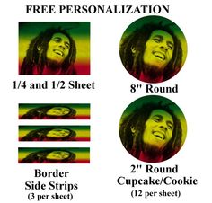 Bob Marley Edible Image Cake Topper Frosting Sheet #1 (different sizes)