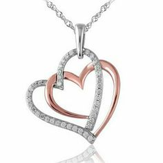 Diamond Double Heart pendant in SS and Rose Gold Love the pinkness to this rose gold. I want this to go with my rose gold MK watch :) Diamond Necklace Set, Diamond Pendant, Heart Jewelry, Cute Jewelry, Emerald Jewelry, Diamond Jewelry, Gold Jewelry Simple, Necklace For Girlfriend, Jewelry Design