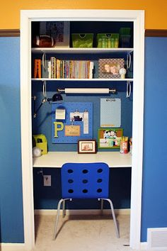 Head back to school with a homework station or homeschool room that makes learning fun. Here are some of our favorite home study areas to inspire you. Closet Desk, Boys Closet, Closet Office, Home Office, Closet Space, Playroom Closet, Hall Closet, Kids Office, Interior Office
