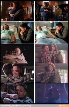 Actual scene compared to behind the scene. J2 hugs