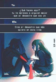 Sad Anime, Otaku Anime, Anime Love, Kawaii Anime, Love Phrases, Sad Love, Spanish Quotes, Anime Couples, Romance