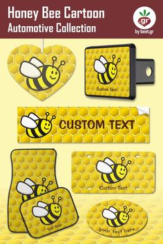 Smiling flying bee cartoon over seamless bee-hive background. Honey Bee Cartoon, Cute Cartoon Characters, Customizable Gifts, Honeycomb, My Images, Collection, Honeycombs, Honeycomb Pattern