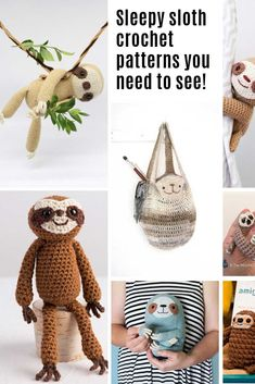 Crochet Toy Patterns Oh my goodness these sloth crochet patterns are ADORABLE! - Everyone needs a sleepy sloth in their life and these crochet patterns are just what you need to whip up a toy, curtain tie or even a hat! Crochet Dragon Pattern, Crochet Toys Patterns, Amigurumi Patterns, Stuffed Toys Patterns, Crochet Designs, Crochet Sloth, Cute Crochet, Crochet Animals, Crochet Yarn