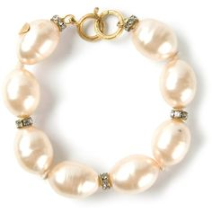 CHANEL VINTAGE glass pearl bead and diamante bracelet found on Polyvore