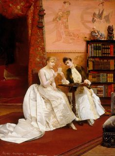 1889 Georges Croegaert - Confidences (Art Gallery of New South Wales) Google Art Project, Victorian Paintings, Victorian Art, Victorian Portraits, Victorian Fashion, Paintings I Love, Beautiful Paintings, People Reading, Arte Fashion